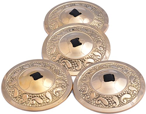Wevez 2 Pairs / 4 pcs American Belly Dance Finger Zills/Sagats/Cymbals Golden