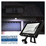 Hyperikon LED Motion Sensor Light 50W (200W Equivalent), Outdoor Flood Light, 4000 Lumens, 5000K (Crystal White Glow), LED Security Light, 120v, IP65 Waterproof - For Overhead Lighting, Security