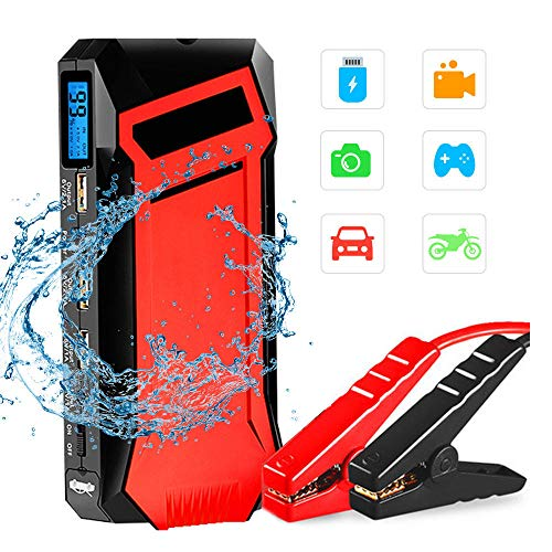 Car Jump Starter 400A 12000mA Auto Battery Booster for 5L Petrol & 3L Diesel Engines with Smart Cable 3 USB Outputs 3 Modes LED Flashlight and HD LCD Display,Red