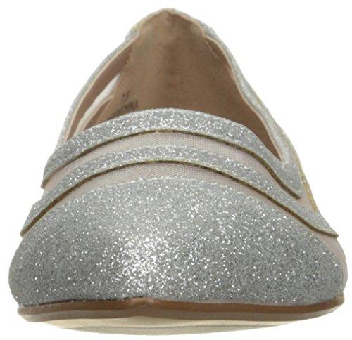 Betsey Johnson Women's Annette Pointed Toe Flat Silver Glitter HV4UI