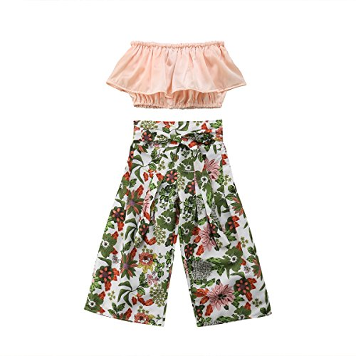 Toddler Baby Girls 2Pcs Set,Kids Ruffle Vest Crop Tops+Floral Wide Leg Pants Summer Outfits