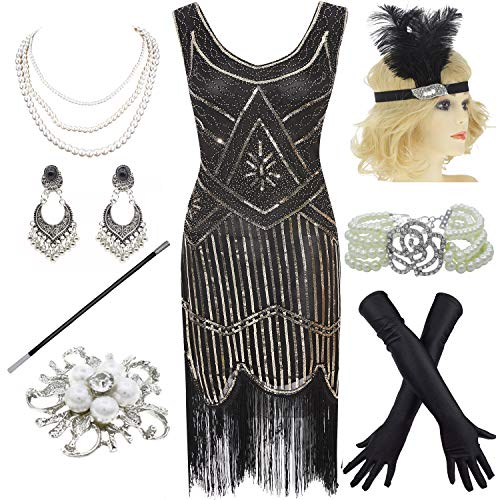1920s Gatsby Fringed Paisley Plus Size Flapper Dress with 20s Accessories Set (XXXL, Black-Gold)]()