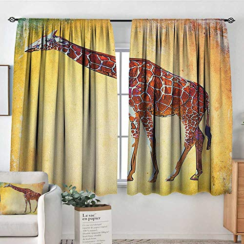 (Curtains for Living Room Giraffe,Vintage Style Illustration Watercolor African Animal Wildlife Safari Zoo Retro Art, Multicolor,Decor Collection Thermal/Room Darkening Window Curtains 52