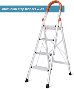 DGCUS Lightweight Aluminum 4 Step Ladder Folding Step Stool 5-Foot Stepladders Home and Kitchen Anti-Slip Sturdy and Wide Pedal Ladders 300lbs Capacity Space Saving