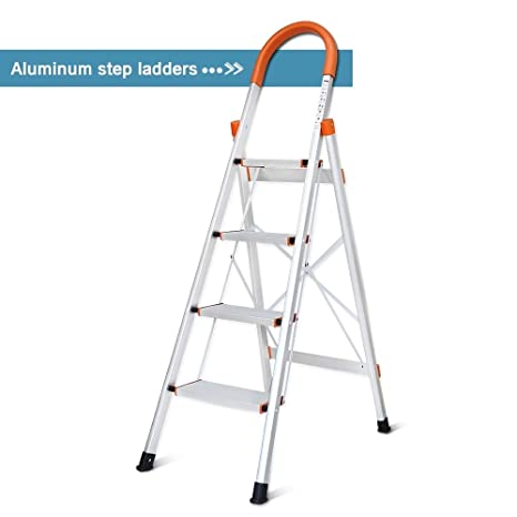 Miraculous Dgcus Lightweight Aluminum 4 Step Ladder Folding Step Stool 5 Foot Stepladders Home And Kitchen Anti Slip Sturdy And Wide Pedal Ladders 300Lbs Machost Co Dining Chair Design Ideas Machostcouk
