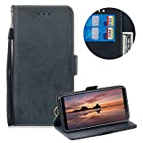 Moiky Leather Wallet Case for Samsung Galaxy A6 2018,Flip Case with Wrist Strap for Samsung Galaxy A6 2018,Classic Black Solid Color Flex Soft PU Leather Wallet Magnetic Closure Folding Flip Case