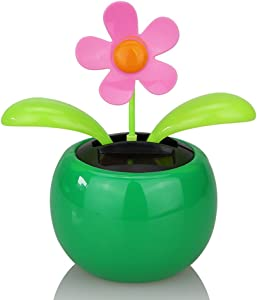 everd1487HH Solar Powered Dancing Flower Flip Flop Leaves Car Display Dashboard Toy,Home Desktop Decoration Life Gadget- Green