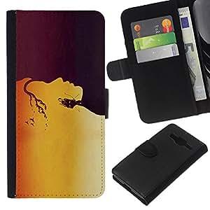 KLONGSHOP // Tirón de la caja Cartera de cuero con ranuras para tarjetas - Oro patrón de la cara - Samsung Galaxy Core Prime //