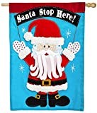 Evergreen Santa Stop Here Applique House Flag, 28 x 44 inches