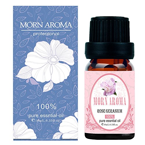 Rose Geranium 100% Pure Therapeutic Grade Essential Oil by Morn Aroma -10 ml. Undiluted