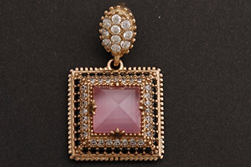 (Turkish Handmade Jewelry Square Shape Princess Cut Rose Gold Pink Cat's Eye Quartz and Round Cut Black White Topaz 925 Sterling Silver Pendants)