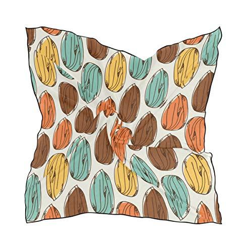Women's Soft Polyester Silk Square Scarf Almond Dried Fruit Casual Snack Ideas Fashion Print Head & Hair Scarf Neckerchief Accessory-23.6x23.6 Inch