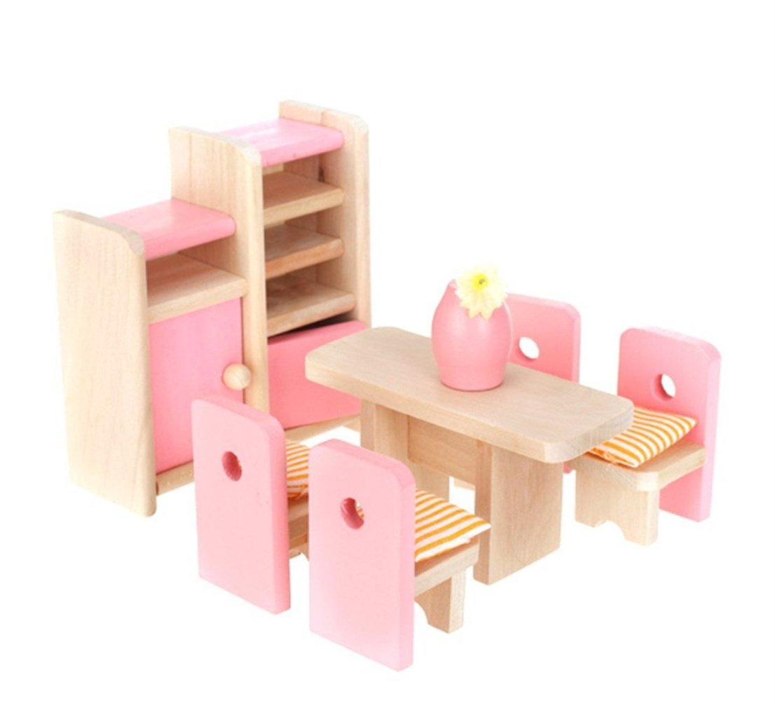 Wooden Doll House Dining Room Furniture Dining Table Chairs Cabinet Toy Set Barbies Dollhouse Miniature Furniture for Baby Kids Girls Playroom Party by SamGreatWorld