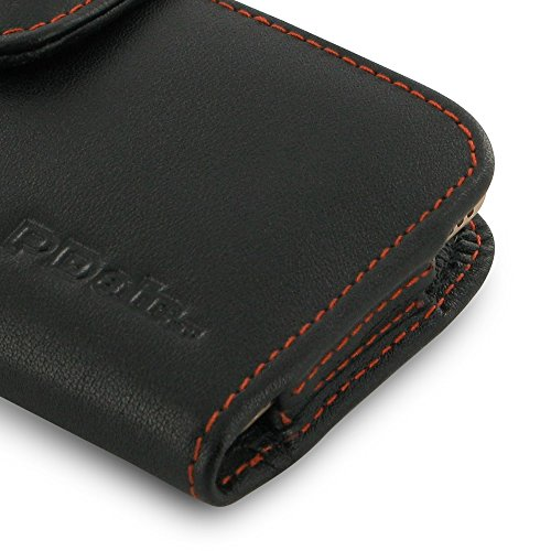 Apple iPhone 7 Case, Leather Case, Pouch, Holster, Wallet Case, Protective Case, Phone Case - Horizontal Pouch Case with Belt Clips (Black/Orange Stitch) by Pdair