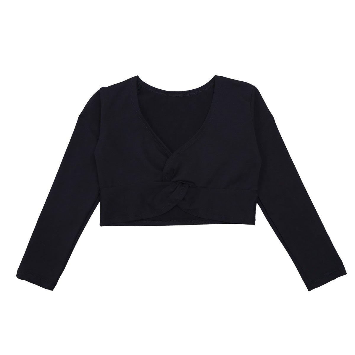 iEFiEL Girls Front Twist Knot Long Sleeve Ballerina Dance Cotton Wrap Top Black 5-6
