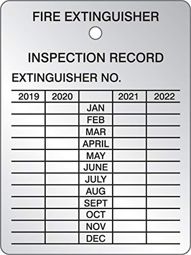 Accuform Fire Extinguisher 4 Year Inspection Tag, 2019 Start, Aluminum, Pack of 5
