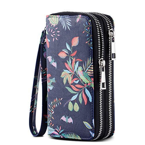 HAWEE Cellphone Wallet Dual Zipper Wristlet Purse with Credit Card Case/Coin Pouch/Smart Phone Pocket Soft Leather for Women or Lady, Blue+ Colored Floral