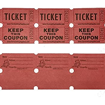 100 Red Colored Raffle Tickets Double Roll 50 50