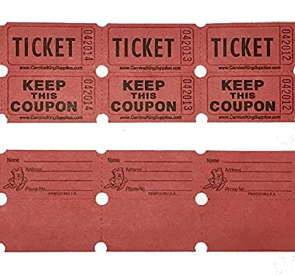 100 red colored raffle tickets double roll 5050 carnival fair split the pot one