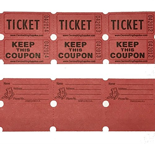 100 Red Colored Raffle Tickets Double Roll 50/50 Carnival Fair Split the Pot One Hundred Consecutively Numbered Fundraiser Festival Event Party Door Prize Drawing Perforated Stubs -