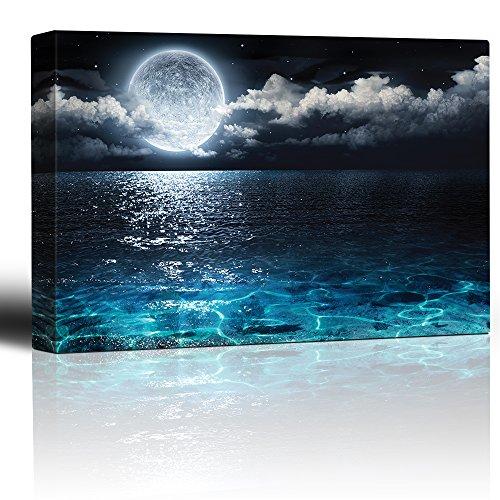 wall26 - Moon Illuminating The Clear Ocean Blue - Canvas Art Wall Decor -32