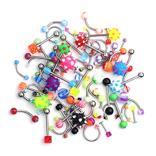 Ruifan 70PCS Body Piercing Jewelry Kit Set for Nose Septum Horseshoe Earring Eyebrow Tongue Nipple Lip Belly Button Ring Stud 14G 16G