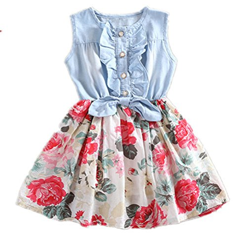 Little Girls Spring Summer Dress Denim Floral Swing Skirt with Belt Girls Fashion Tutu Dress(White, 3T(2-3 ()