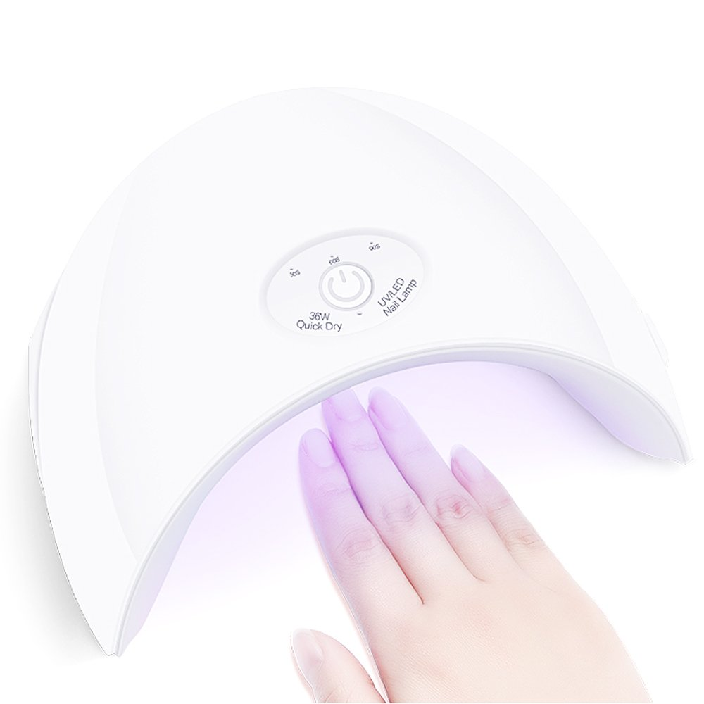 VOLLUCK Nail Lamp - 36W USB LED UV Nail Dryer for Gel Polishes with Automatic Sensor, USB Light and Three Timer Settings 30s/60s/90s, Best Gifts For Women (White)