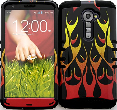 Wireless Fones TM High Impact Hybrid Cover Case for LG G2 VS980 Verizon Red Flames on Black (Verizon Lg G2 Bling Case)