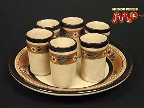 Amazon.com: Tequila Shot vidrio Set w/placa mexicano ...