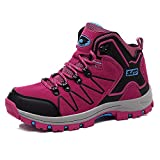 FEOZYZ Women's High Top Waterproof Hiking Boots (39 M EU/7.5 B(M) US, Rose)