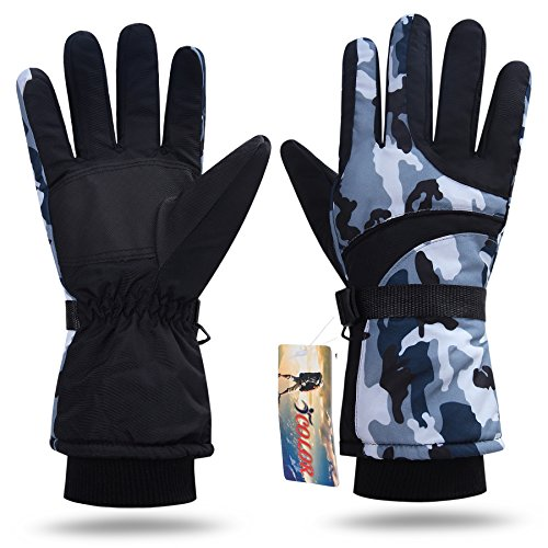 Boys Winter Ski Gloves - iColor Snowboarding Gloves Winter Warm Ski Golve for Outdoor Sports Skiing Sledding Warm Windproof Bicycle Cycling Snow Snowboard Snowmobile Golve (Black)