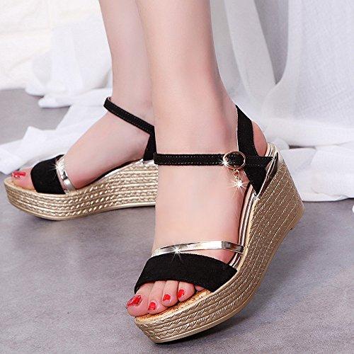 Mujer Sandalias Cuña, Culater Zapatos de Verano Open Toe Plataforma Negro
