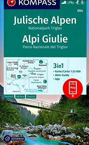 Triglav - Julian Alps (Slovenia) 1:25,000 Hiking Map, laminated, GPS-precise by KOMPASS