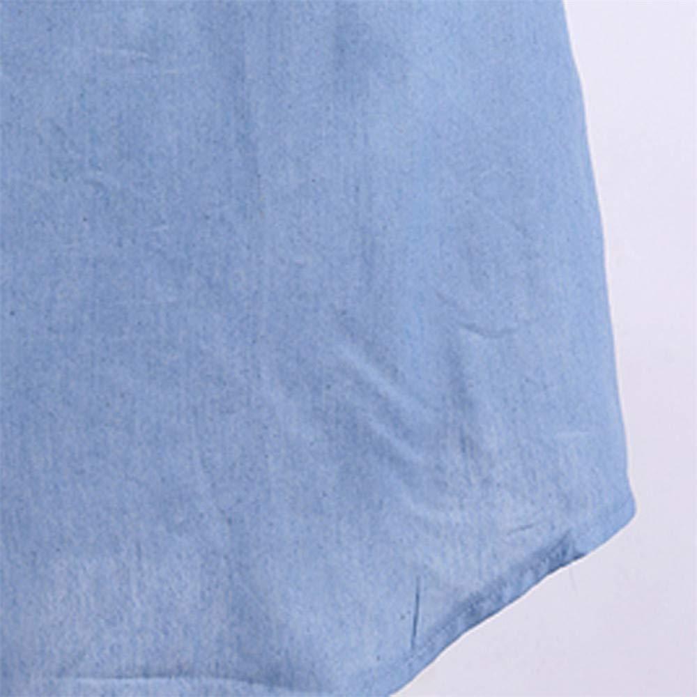 Quealent Women's Plus Size Long Short Sleeve Dress Casual Loose Pocket T-Shirt Dress Sky Blue by Quealent (Image #7)