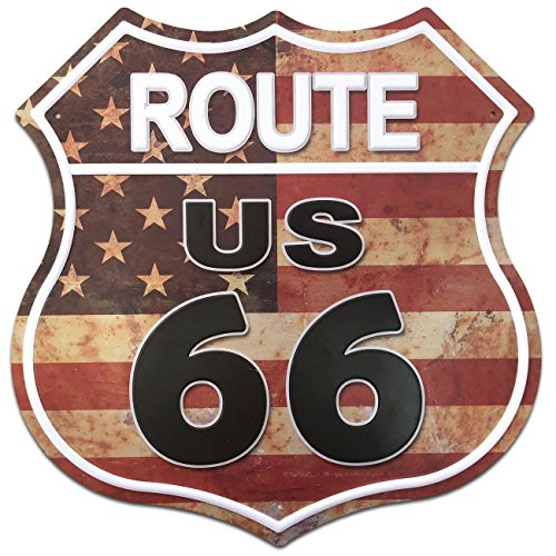 SUDAGEN US Route 66 Signs Vintage Metal Road Signs for Garage, Man Cave, Bar, Home Decoration (US Flag Route 66) (Best Garage Man Caves)