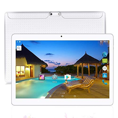 JUNLONG 10 inch Tablet Android Octa Core Tablet with 4GB RAM 64GB ROM Tablet PC Built in WiFi and Camera GPS Two Sim Card Slots Unlocked 3G Phone Call Phablet (White)