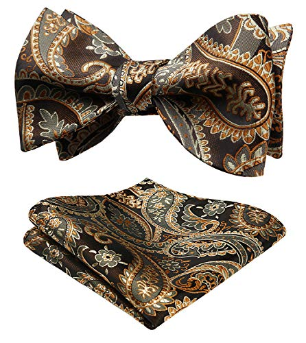 SetSense Men's Paisley Jacquard Woven Self Bow Tie Set One Size Gold/Brown