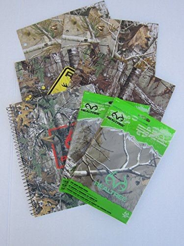 Realtree Outdoors Themed School Supply Bundle: 7 Items- Four Realtree Two Pocket Portfolios, Two Realtree Stretch Book Covers, Plus One Realtree Sprial 70 Page College Ruled Notebook by Realtree