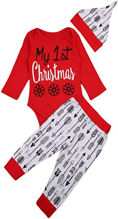 Newborn Baby Boy Girls First Christmas Clothes Romper Top Pants Hat Outfits Set