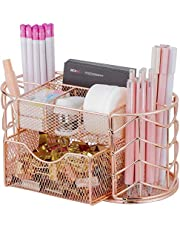 Upgraded Desk Organizer for Women, Cute Mesh Office Supplies Accessories Essentials Caddy with Drawer for Home & Office Desktop Organization & Decor