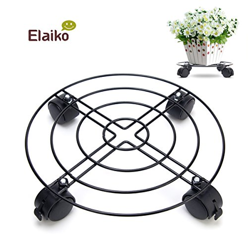 Flower Pot Rack on Rollers Dolly Holder on Wheels office and home Planter Trolley Casters Rolling Tray Coaster Black, Round by Elaiko