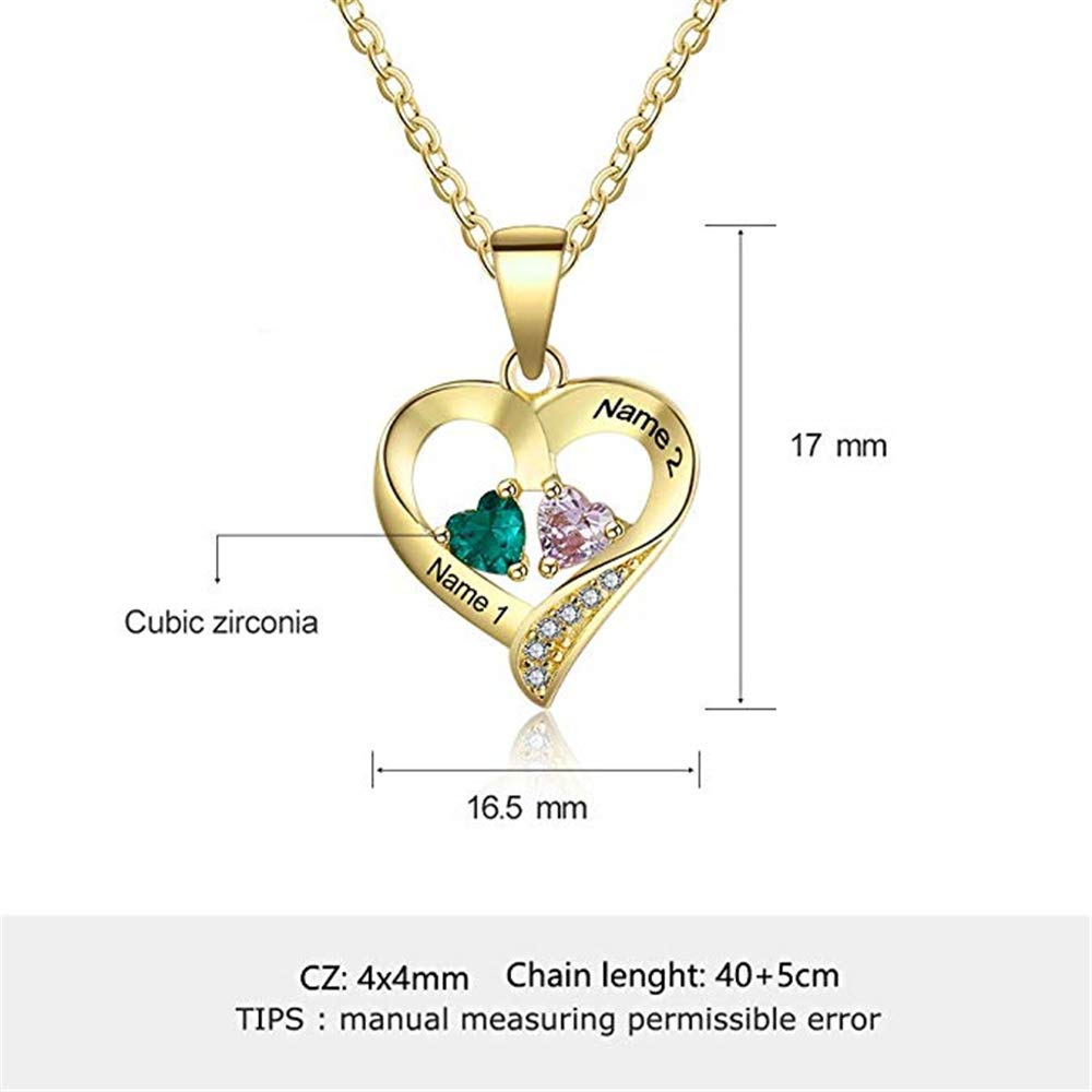 Personalized Custom 2 Names Necklace with 2 Heart Simulated Birthstone Couple Pendant Necklace for Women ,Birthday Mothers Day