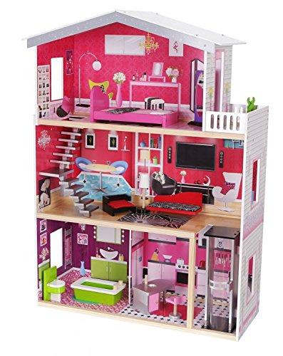 GDToys GDToys GDToys Malibu Residenz Puppenhaus aus Holz mit Zubehör, 10 Holzmöbel, Puppe kostenlos!! 9c6abc