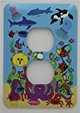 Under Sea Light Switch Plates with Dolphins, Whale, Sharks, Octopus, Jelly Fish and Clown Fish/Under The Sea Children's Nursery Wall Decor (Outlet Cover)