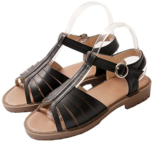 Open Toe Sandals Black Flats strap T Women's LongFengMa Classic Black pEwqqvT