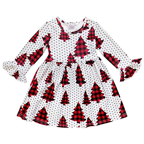 Children's Boutique Dresses (So Sydney Girls or Toddler Fall Winter Christmas Boutique Holiday Dress Long Sleeves (3T (S), Buffalo Plaid)