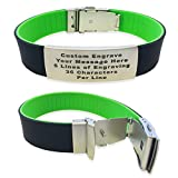 SUMMER SALE Fitness ID Bracelet - Dual Layer Wrist ID-Identification Bracelet ID Wristband, Sports ID for Kids and Adults - Runners - Walking - Cycling - Alert - Safety (Black and Lime Green)