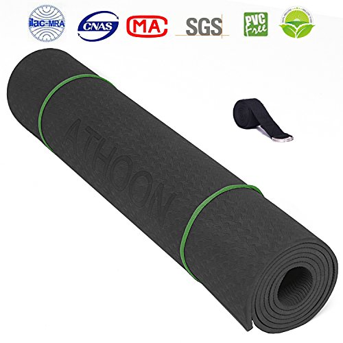 ATHOON Yoga Mat TPE with Strap Bag 2018 New Eco Friendly Non Slip Exercise Mat – ¼-Inch 6mm Thick for Men & Women, Black
