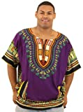 King-Sized Traditional Print Unisex Dashiki Top - Up to 68'' Chest - Available in Several Colors, 3X, Purple
